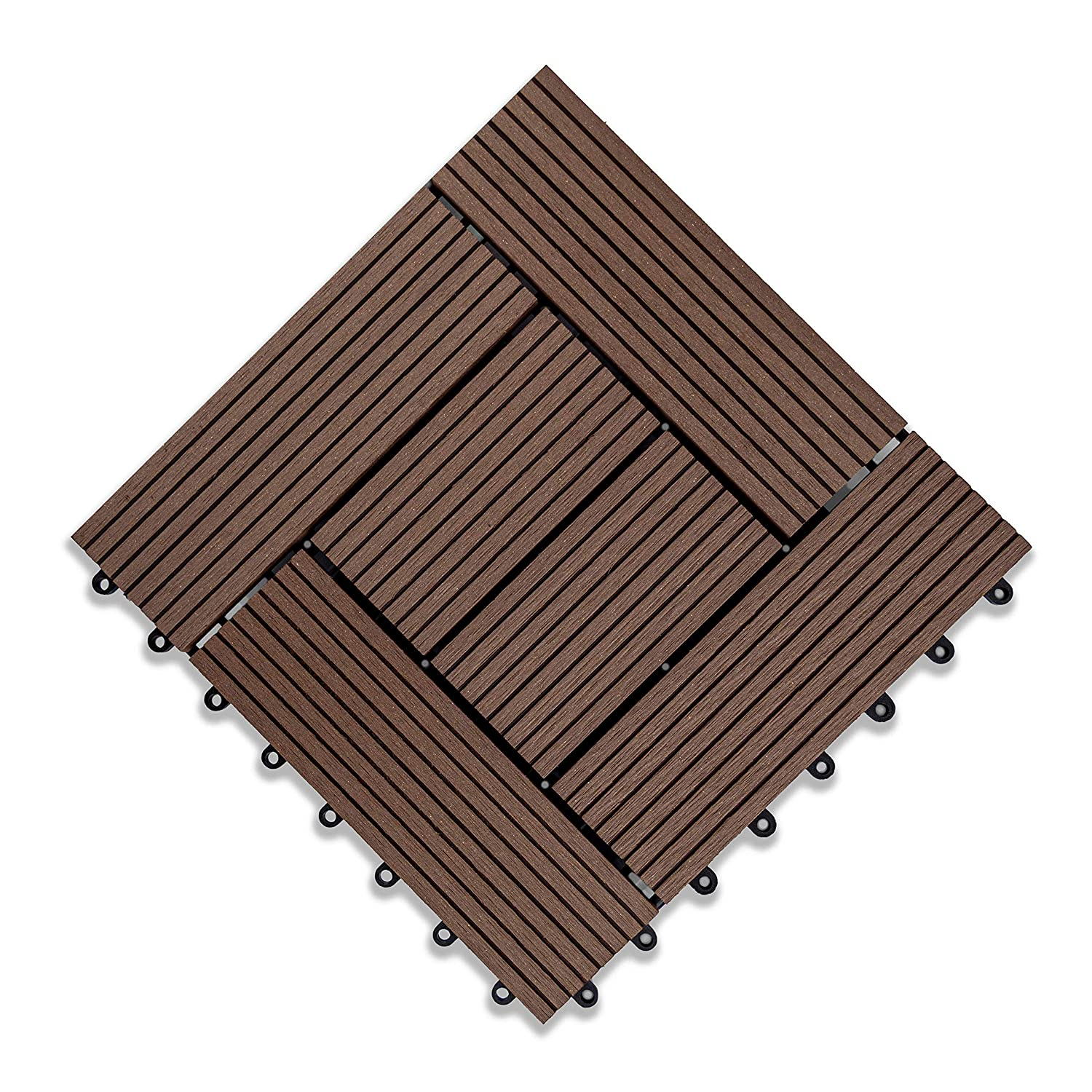 Rosetta- Interlocking Deck Tiles Waterproof Outdoor Flooring- Coffee