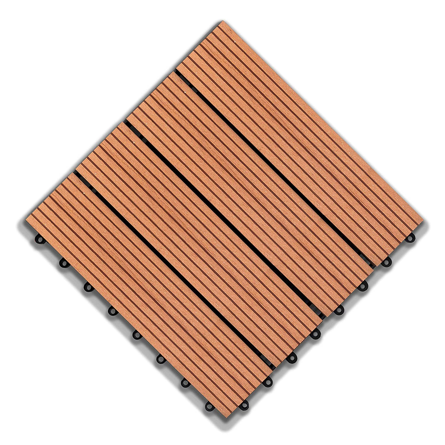 Rosetta- Interlocking Deck Tiles Waterproof Outdoor Flooring- Red Cedar